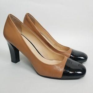 Franco Sarto Chunky Tan and Black Heels size 10